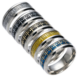 Wholesale Religion China - Fashion Christian Religion Jesus Jewelry Cross Stainless Steel Women Men Ring Silver Band Titanium Steel Rings