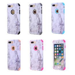 Wholesale Pink Marbles - 2017 New case For Apple iphone 7 plus silicone soft TPU + hard PC case cell phone cases 3 in 1 marble grain shell