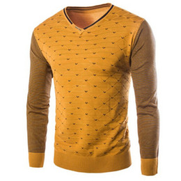 Wholesale Colored Sweater - Wholesale- New Arrival Korean Style 2016 High Quality Stitching Color Warm Sweater Male Stripe Dot Cashmere Sweater 4Color M-3XL