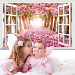 Wholesale Tree Blossom Wall Stickers - Lavender Sea Cherry Blossom Romantic Pink Flower Tree Window Wall Decals Wall Sticker For Living Room Bedroom