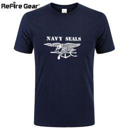 Wholesale black combat shirts - Summer Military T shirt Men Navy Seals Print Quick Dry Army Combat Tactical T-shirt Short Sleeve Breathable Cotton Casual Tees q170662