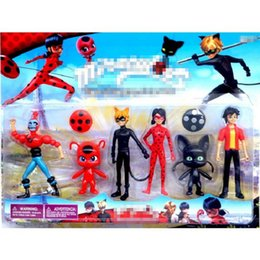 Wholesale Lady Toys - 6Pcs lot Miraculous Ladybug 3.5-5.5Inch PVC Lady bug Figures Toys Kids Collection Doll Gift