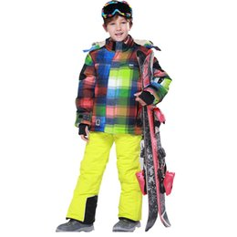 Wholesale Waterproof Clothes For Kids - Wholesale- Kids Ski Suit Ski Jacket Ski Pants Windproof Waterproof Outdoor Jacket Snow Clothing for Boys