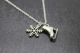 Wholesale Ice Skates Necklaces - 12pcs lot Antique silver Ice Skate Charm pendant necklace snowflake charm necklace Figure Skating Gift, Winter Jewelry