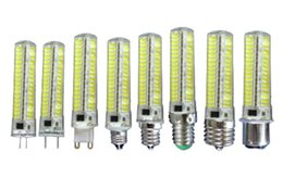 Wholesale E11 Led Bulbs - 1PC GY6.35 G4 G8 G9 E11 E12 E14 E17 BA15D 110V 220V AC Dimmable bulb 7W 136-5730 SMD LED silicone Lamp Light Equivalent 70W