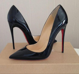 Wholesale Rubber Sole Pumps - Original Box Classic Women Brand Red Bottom High Heels Patent Leather Pointy Toe Dress Shoes Luxury Shallow Mouth Red Sole Wedding Shoes