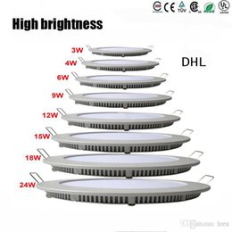 Wholesale Dimmable Ceiling Lamp 3w - Dimmable Round Led Panel Light SMD 2835 3W 9W 12W 15W 18W 21W 25W 110-240V Led Ceiling Recessed down lamp SMD2835 downlight + driver