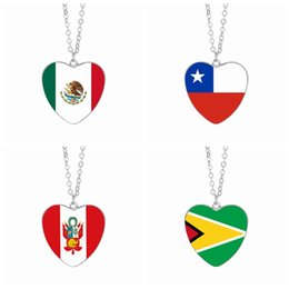 cabochon pendants 25mm Coupons - Mexico Flag Pendant Necklaces 25mm Heart Glass Cabochon Chile Peru Guyana Flags Festival Women Jewelry Wholesale