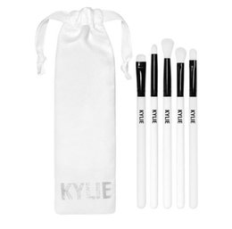Wholesale Plastic Holiday Gift Bags - 2017 Kylie Brush Set Holiday Collection Kylie Jenner Cosmetics Makeup Brushes Set 5 pcs Kit Foundation Powder Face Brush Gift Bag