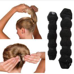 Wholesale Hair Curler Bun - Practical Sponge Hair Styling Device Donut Bun Maker Chrismas Magic Easy Using Hairdisk Former Ring Shaper Hair Twist Curler 1200pcs OOA2158