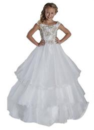 Белый пол длина детские платья онлайн-Девушки Цветка Свадьба Театрализованное Платье Принцесса Первое Причастие Святой Белый Блестками Платье Ребенок Оборками Длина Пола Бальные Платья