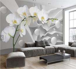 Wallpaper de la sala de tv flor online-Abstracto 3D Photo Mural Wallpaper flor Circle Ball papel de pared para la sala de estar TV fondo Decoración de pared Butterfly Orchid Murals