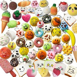 Wholesale Plant Plastics - 30pcs PU Cute Lovely Cartoon Pendant Kawaii Squishy Simulation Bread Food Squishy Super Kid Toy Decompression Toys