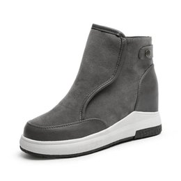 Wholesale Green Wedge Boots Women - Shoes Women Suede Genuine Leather Wedges Shoes Round Toe High Quality Platform Shoes Comfortable Hidden Heels Boots Woman d34f