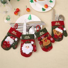 Wholesale Mini Christmas Hats - New Christmas Hat Silverware Holder Xmas Mini Red Santa Claus Cutlery Bag Party Decor Cute Gift Hat Tableware Holder Set IB520