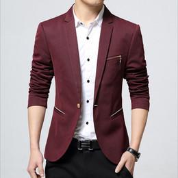 Wholesale Men Boys Slim Fit Suits - Wholesale- 1pcs Men's plus size slim fit suit blazer jacket 2017Spring cotton blended Long sleeve small pocket blazer Men jacket coats boy