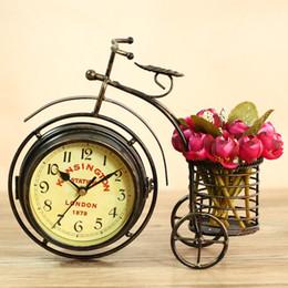 Fer forgé antique en Ligne-Vente en gros-Unique vintage classique en fer forgé vélo horloge de bureau Duplex horloge face muet décoration de la maison vintage table horloge horloge