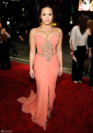 Wholesale Demi Lovato Red Carpet Dresses - 2017 New Sexy Demi Lovato in Red Carpet Celebrity Dresses Sweetheart Beaded Floor-length Chiffon Evening Dresses 836