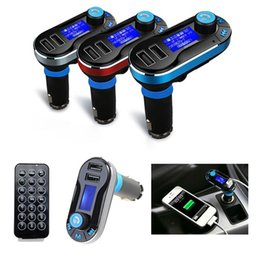 Wholesale Car Speaker Support Sd Card - Wholesale-Universal Bluetooth Car Kit FM Transmitter Handsfree Speaker MP3 Player Dual USB Charger Support SD Card USB AUX Input with Mic