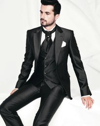 Wholesale Mens Shiny Gray Pants - Excellence Style Shiny Mens Dinner Party Prom Suits Groom Tuxedos Groomsmen Wedding Blazer Suits Wedding Suits (Jacket+Pants+Vest+Tie)