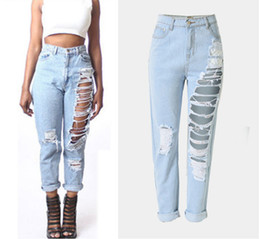 Wholesale Women Straight Leg Jeans - Leisure irregular hole jeans denim hole Joker feet pants wide trousers sexy tassel loose straight wide-legged pants 6
