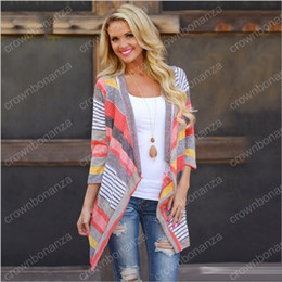 Wholesale Women S Top Dress Sweater - Cardigan Stripe Women Casual Sweater Loose Knit Tees Jacket Sleeved Coat Boho Outerwear Knitted Outwear Summer Tops Maxi Dress Clothes
