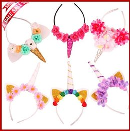 Wholesale Free Style Ornament - 20 styles new hair ornaments Girls Unicorn wig plait kids Glitter hair accessories princess Halloween Carnival headdress Hair hoop free ship