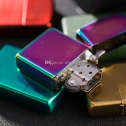 2019 cromado de metal DHL LIBRE de metal queroseno encendedor de cigarrillos espejo placa placa cromo brillante regalos publicitarios más ligero sin queroseno envío gratis rebajas cromado de metal