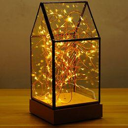 Wholesale Wholesale Light Covers Glass - Creative Led Table Night Lamp House Shape Desk Decor Lamps Glass Cover Wood Base Warm Decoration Bedside Shining Light Led