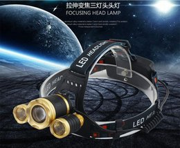 Wholesale High Power Led Drop Lights - Drop shipping Headlamp LED CREE 3 T6 light 18650 battery Zoom waterproof Outdoor Camping Fishing Hunting High Power Rechargeable Headlight