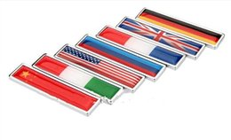 Wholesale car flag usa - High Quality Zinc alloy Sticker Car Sticker Label Emblem Badge car styling [58x14mm] for Italy England Germany France USA Russian flag