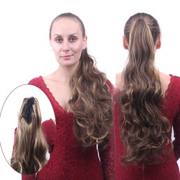 """Wholesale Synthetic Clip 16 - Sara Claw Jaw Curly Ponytails Clip in Ponytail Hair Extension Curly Horsetail Pony Tail Synthetic Hairpiece 55CM,22"""""""