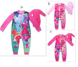 Wholesale Girls Nightgown Sets - Trolls Jumpsuits Girls Clothing Long Sleeves Baby Rompers Zipper Girls Pajamas Kids Children's Sleepwear Nightgown