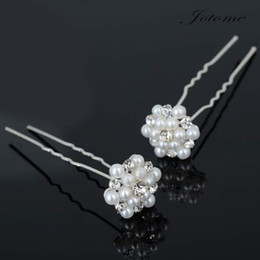 Wholesale Crystal Hair Grips - 100PCS Lot 2017 Bridal Fashion Wholesale Bridal Wedding Prom Crystal Diamante Pearl Flower Hair Pins Clips Grips