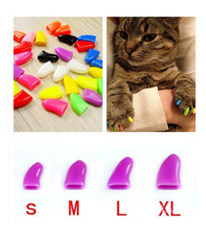 Wholesale Wholesale Nail Covers Cats - New 20Pcs Lot Colorful Soft products for Pet Dog Cats Kitten Paw Care Claws Control Nail Claw Caps Cover Size