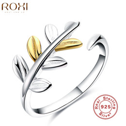 Wholesale plain sterling silver ring - ROXI New Arrivals Gold Silver Leaves Plain 925 Silver Rings Adjustable Open Ring Girl Women Party Wedding Rings Gift Jewelry