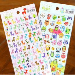 Wholesale Giraffe Books - Wholesale- 1 Pc Cartoon Animal Sticker Toy Owl Giraffe Print Kids Toy Sticker Cute Diary Book Scrapbooking Calendar Album Deco Sticker