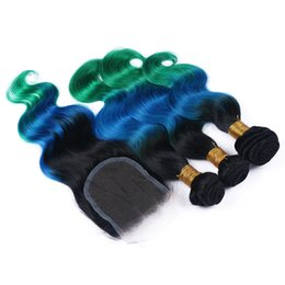 Wholesale Wave Lace Front Closures - 1B Blue Green Ombre 4x4 Lace Front Closure With 3Bundles Body Wave Virgin Peruvian Three Tone Ombre Human Hair Weaves With Lace Closure