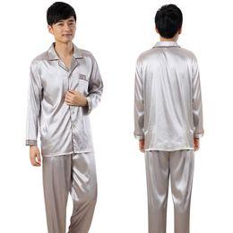 Wholesale Wholesale Women Silk Pajamas - Wholesale- Men Women Couples Pajamas Sets Soft Faux Silk Satin Nightshirt Long Sleeve Sleepwear Homewear RZ