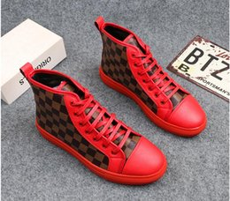 Wholesale High Heeled Shoes For Men - 2018 High Quality Fashion Men High Top British Style Rivets Shoes Men Causal Luxury Shoes Red Black Bottom rubber Shoes for Male