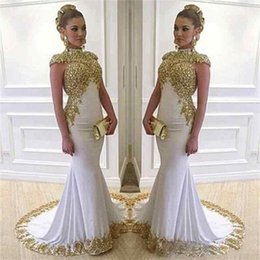 Wholesale Shiny Elastic - Saudi Arabia Mermaid Evening Dresses 2017 Lace Women Wear Shiny Vestido De Festa High Neck Long Cap Sleeve White Dubai Formal Prom Gowns