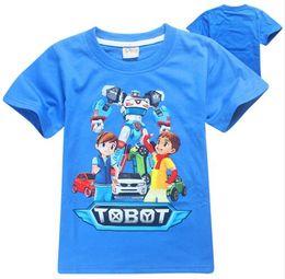 Wholesale robot halloween costumes - 2017 Robot Tobot T-shirt For Boys Kids Summer Clothes New Cartoon Print Tops Tees Blue T Shirt For Kids Transformer Costumes