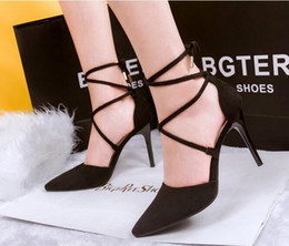 Wholesale Thin High Heels Laces - Fashion European and American suede pointed cross-tie bow tie high heels nightclub sexy thin with a single shoe