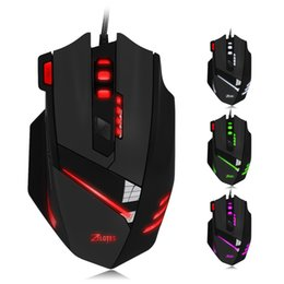Wholesale Professional Gamer - ZELOTES Professional USB Wired Optical 7200DPI Adjustable 7 Buttons Gaming Mouse Mice Gamer with LED Backlight For PC +B