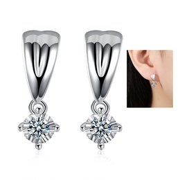 Wholesale Cheap Cubic Zirconia Earrings - Women Stud Earrings Inlaid Clubic Zirconia 925 Silver Plated Dangle Earring Cheap Jewelry Crystal Earring Gemstone Accessories Birthday Gift