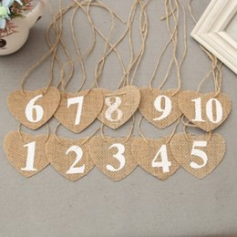 Wholesale Rustic Wedding Table Numbers - 10pcs jute Hessian burlap Table Number table cards from 1 to10 rustic wedding centerpieces decor vintage wedding decoration Banner Flags