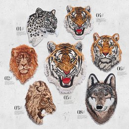 Wholesale Tiger Iron Patches - Embroidered Delicate Cloth Patches Classical Animal Design Iron on and sew on Tiger Lion leopard Wolf Applique