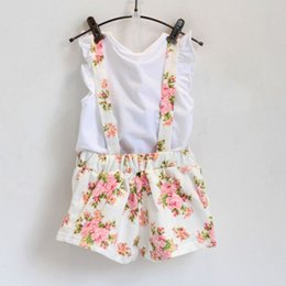 Wholesale Short Overalls For Baby Girls - Wholesale- Hot selling new fashion lovely summer crown shite shirt with floral overall skirtset for baby girl
