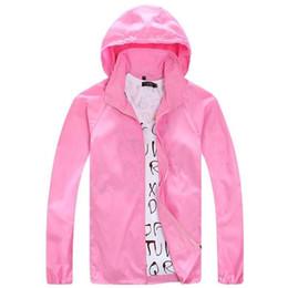 Wholesale V Neck Windbreaker - Wholesale- 2017 Spring Summer Men Women hooded jacket Fashion Lovers Thin Windbreaker Zipper Coats