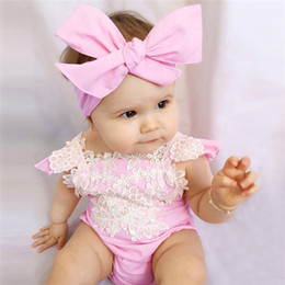 Wholesale Pink Diaper Cover - INS girl toddler Summer 2piece set outfits Rose floral Romper Onesies Diaper Covers Jumpsuits Lace Ruffles + Bow Headband 2017 baby hot